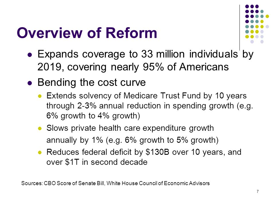 7 Overview of Reform Expands coverage to 33 million individuals by 2019, covering nearly 95% of Americans Bending the cost curve Extends solvency of Medicare Trust Fund by 10 years through 2-3% annual reduction in spending growth (e.g.