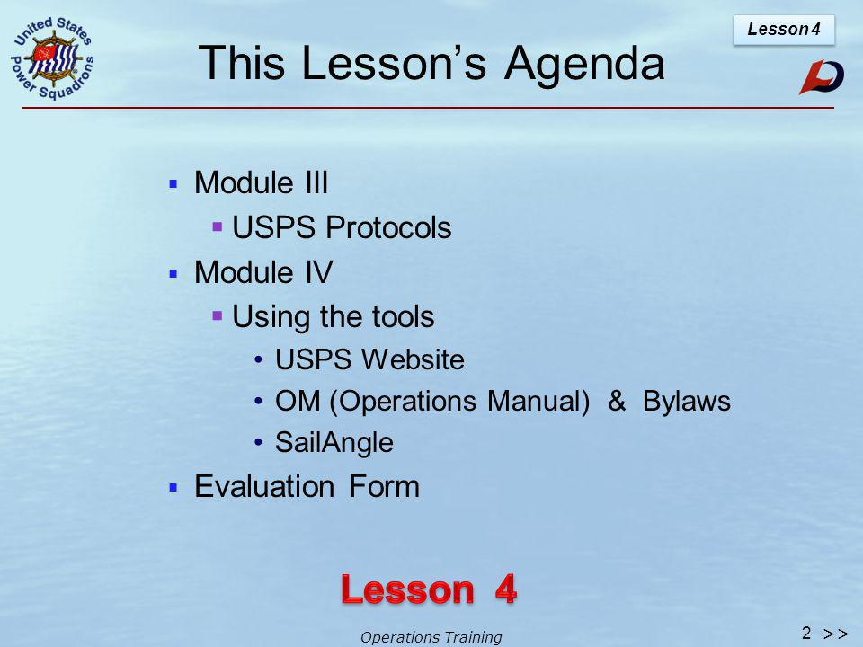 Operations Training Lesson 4 Be 1