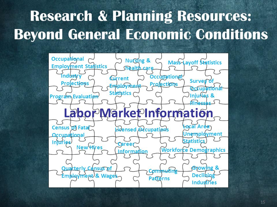 15 Research & Planning Resources: Beyond General Economic Conditions Labor Market Information Occupational Employment Statistics Local Area Unemployme