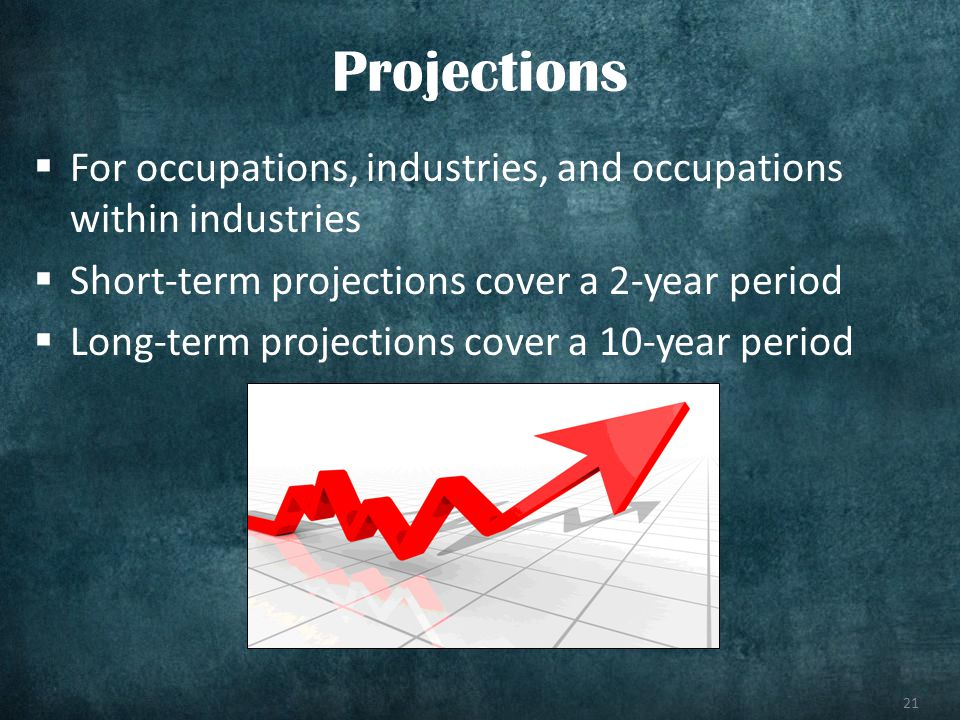 21 For occupations, industries, and occupations within industries Short-term projections cover a 2-year period Long-term projections cover a 10-year p