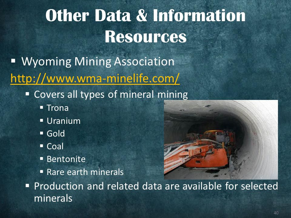 40 Wyoming Mining Association http://www.wma-minelife.com/ Covers all types of mineral mining Trona Uranium Gold Coal Bentonite Rare earth minerals Production and related data are available for selected minerals Other Data & Information Resources