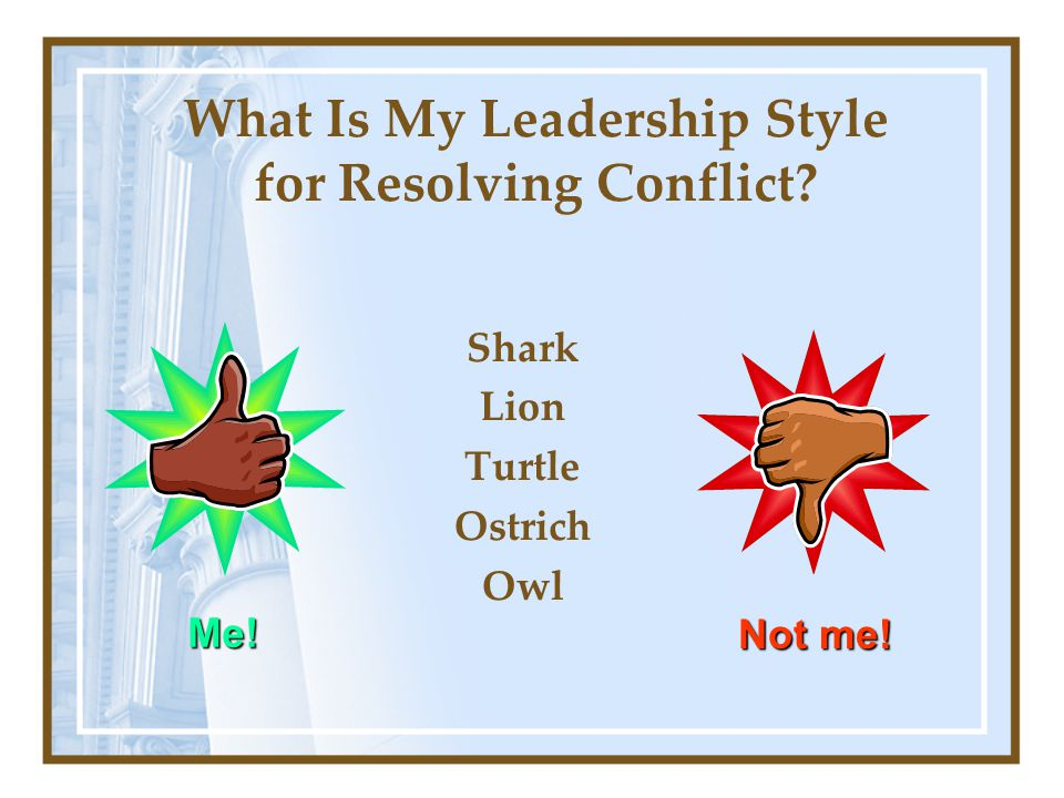 What Is My Leadership Style for Resolving Conflict Shark Lion Turtle Ostrich Owl Me! Not me!