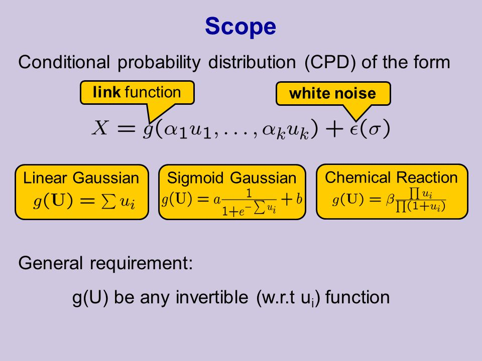 Scope Conditional probability distribution (CPD) of the form link function white noise General requirement: g(U) be any invertible (w.r.t u i ) function Linear GaussianChemical ReactionSigmoid Gaussian