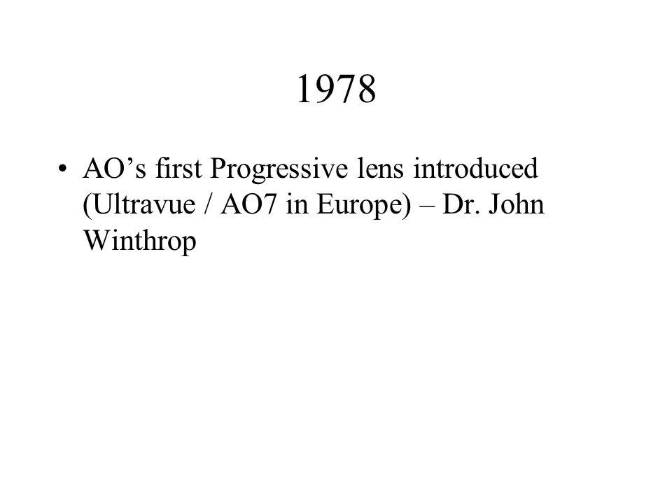 1978 AOs first Progressive lens introduced (Ultravue / AO7 in Europe) – Dr. John Winthrop