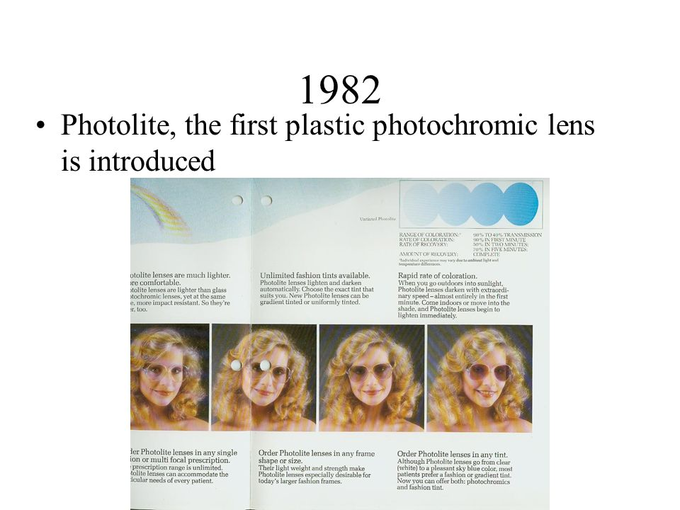 1982 Photolite, the first plastic photochromic lens is introduced