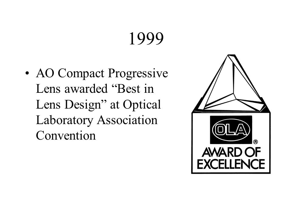 1999 AO Compact Progressive Lens awarded Best in Lens Design at Optical Laboratory Association Convention