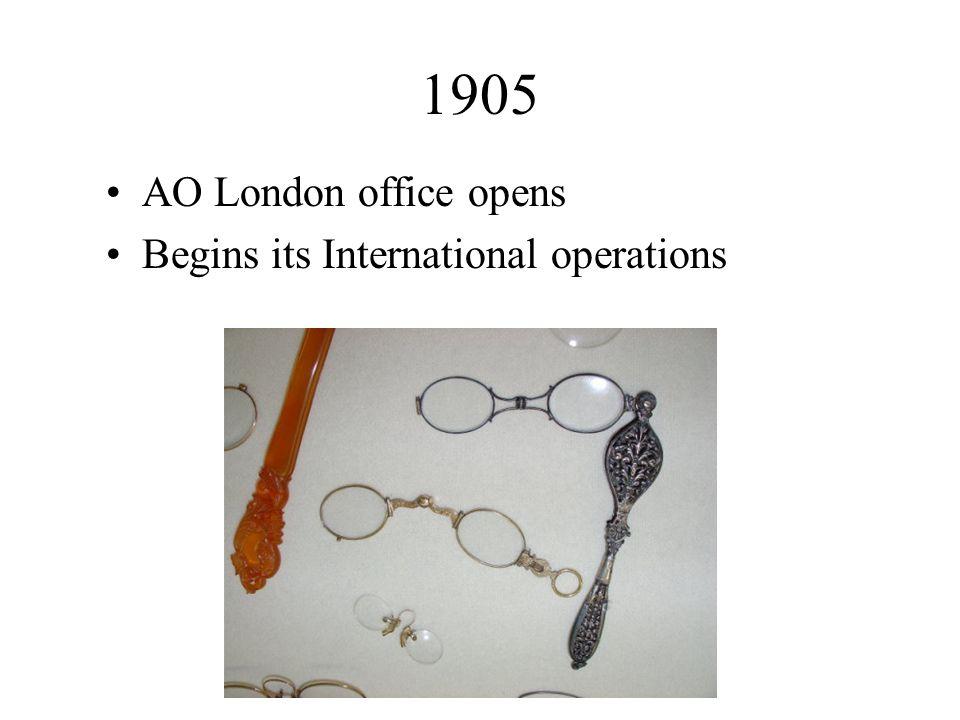 1905 AO London office opens Begins its International operations