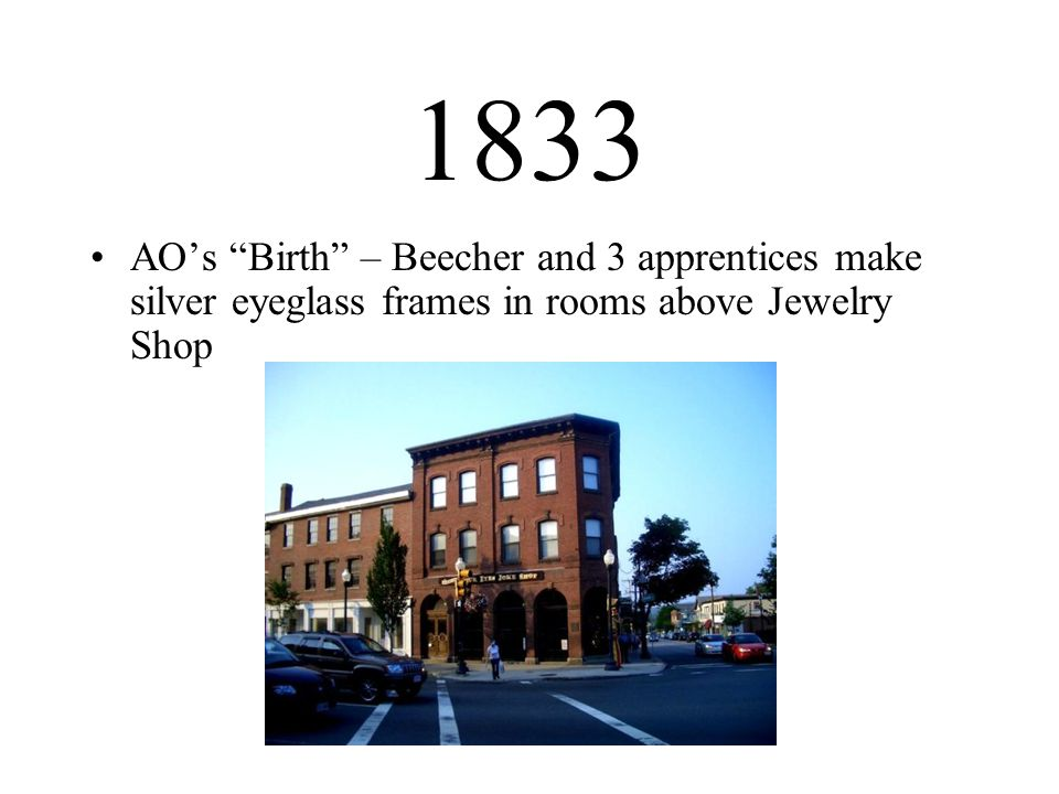 1833 AOs Birth – Beecher and 3 apprentices make silver eyeglass frames in rooms above Jewelry Shop