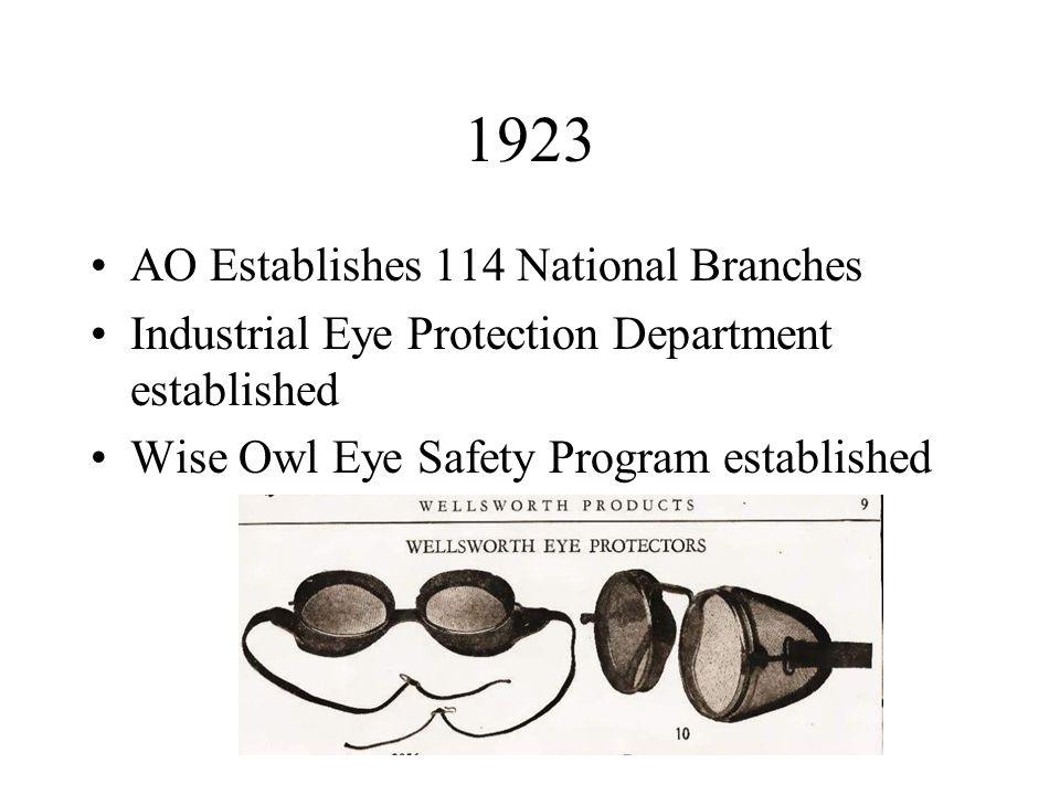 1923 AO Establishes 114 National Branches Industrial Eye Protection Department established Wise Owl Eye Safety Program established