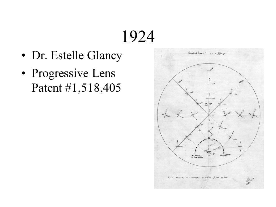 1924 Dr. Estelle Glancy Progressive Lens Patent #1,518,405