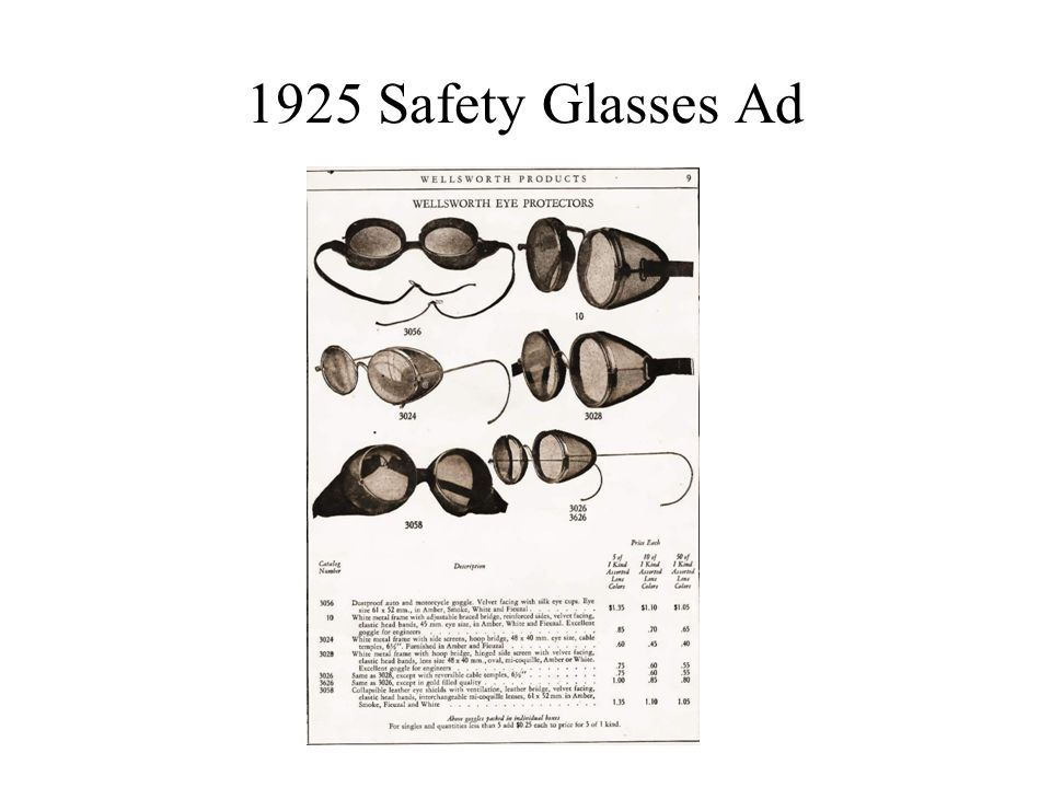 1925 Safety Glasses Ad