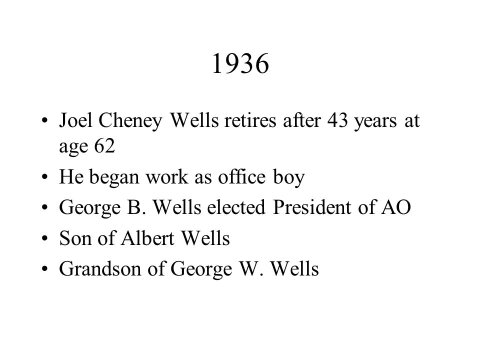 1936 Joel Cheney Wells retires after 43 years at age 62 He began work as office boy George B.