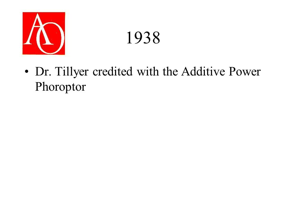 1938 Dr. Tillyer credited with the Additive Power Phoroptor