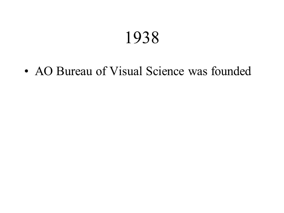 1938 AO Bureau of Visual Science was founded
