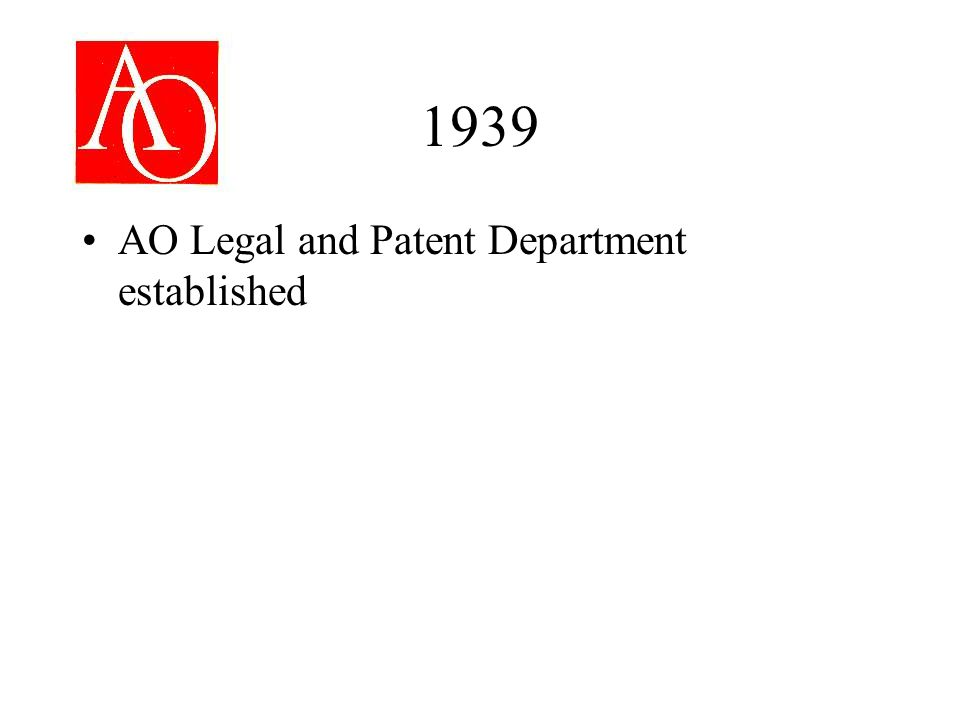 1939 AO Legal and Patent Department established