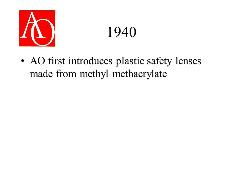 1940 AO first introduces plastic safety lenses made from methyl methacrylate