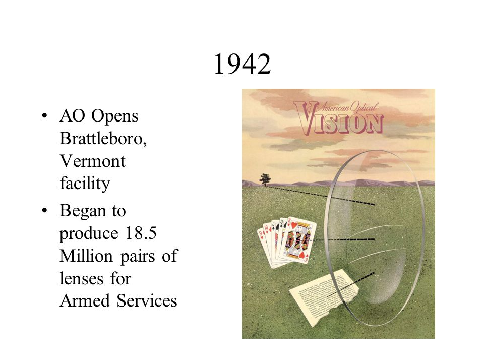 1942 AO Opens Brattleboro, Vermont facility Began to produce 18.5 Million pairs of lenses for Armed Services