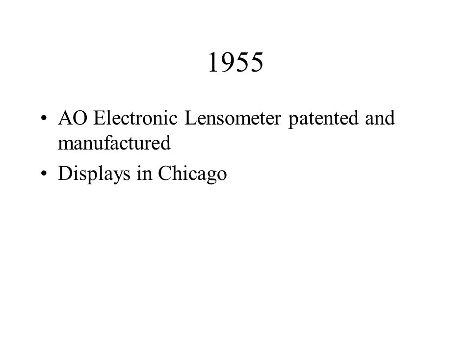 1955 AO Electronic Lensometer patented and manufactured Displays in Chicago