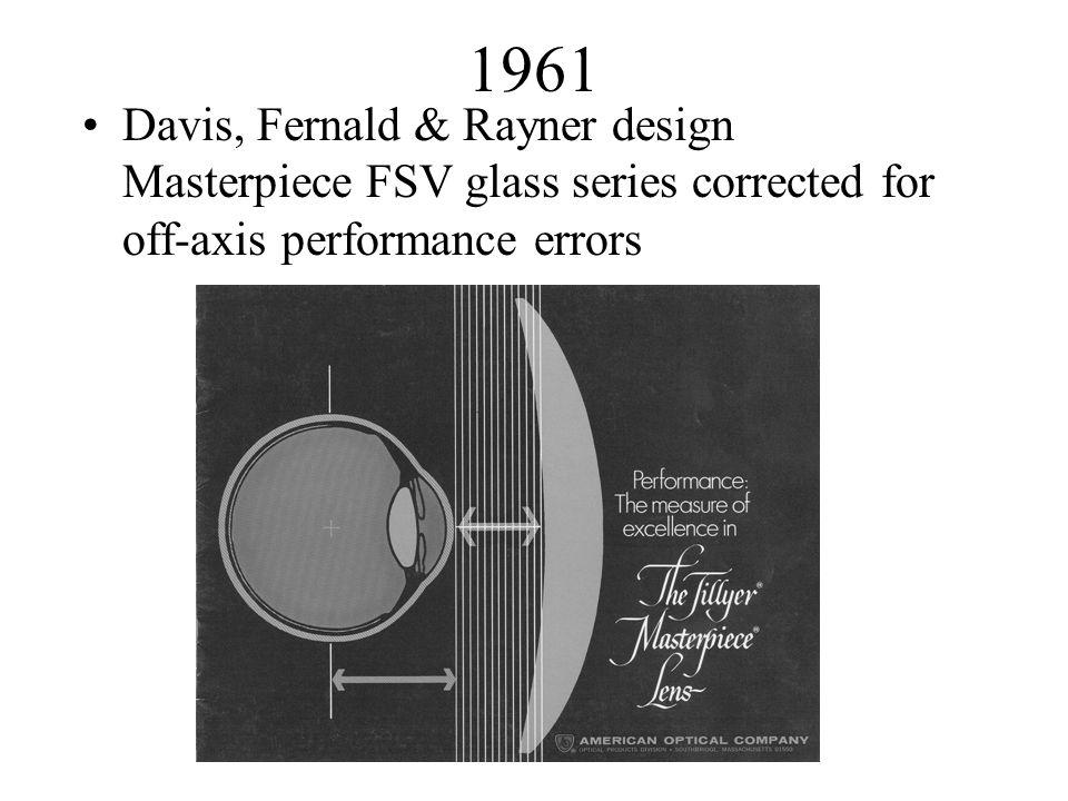 1961 Davis, Fernald & Rayner design Masterpiece FSV glass series corrected for off-axis performance errors