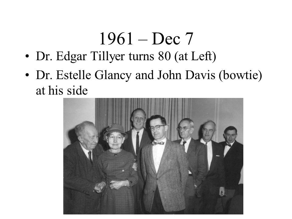 1961 – Dec 7 Dr. Edgar Tillyer turns 80 (at Left) Dr.