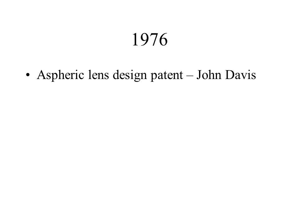 1976 Aspheric lens design patent – John Davis