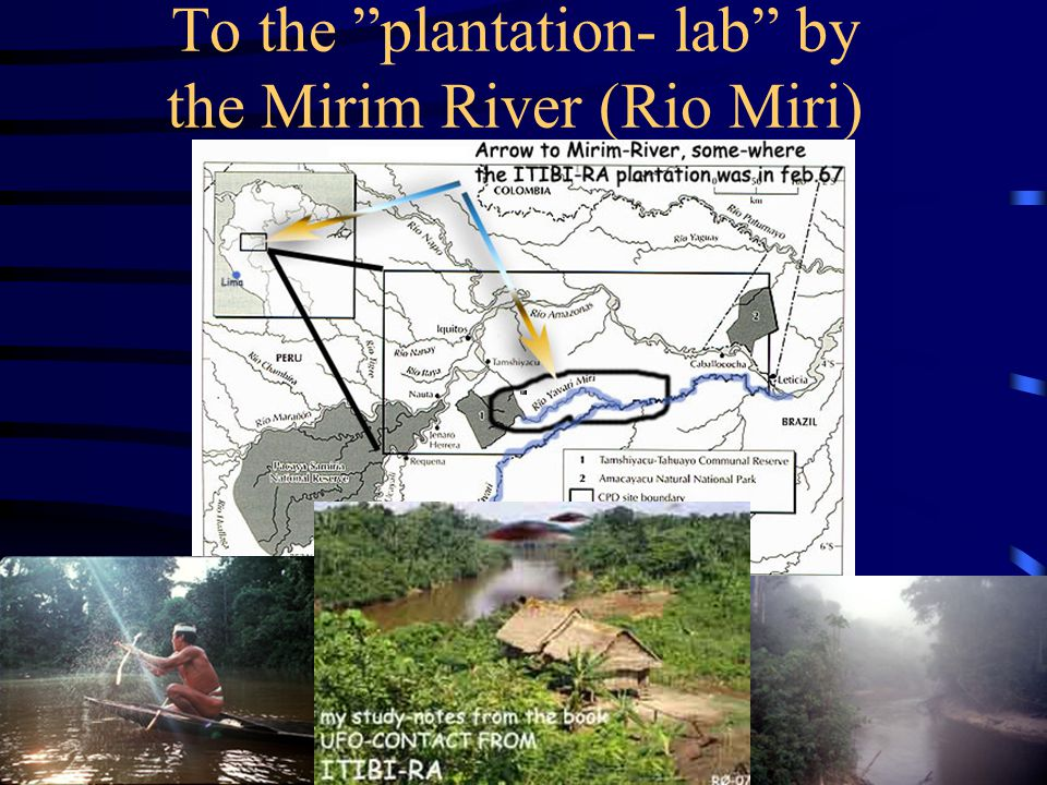 The craft then flew quick into the jungle hundreds of kilometres to their plantation research-lab by the river Mirim To the plantation- lab by the Mir