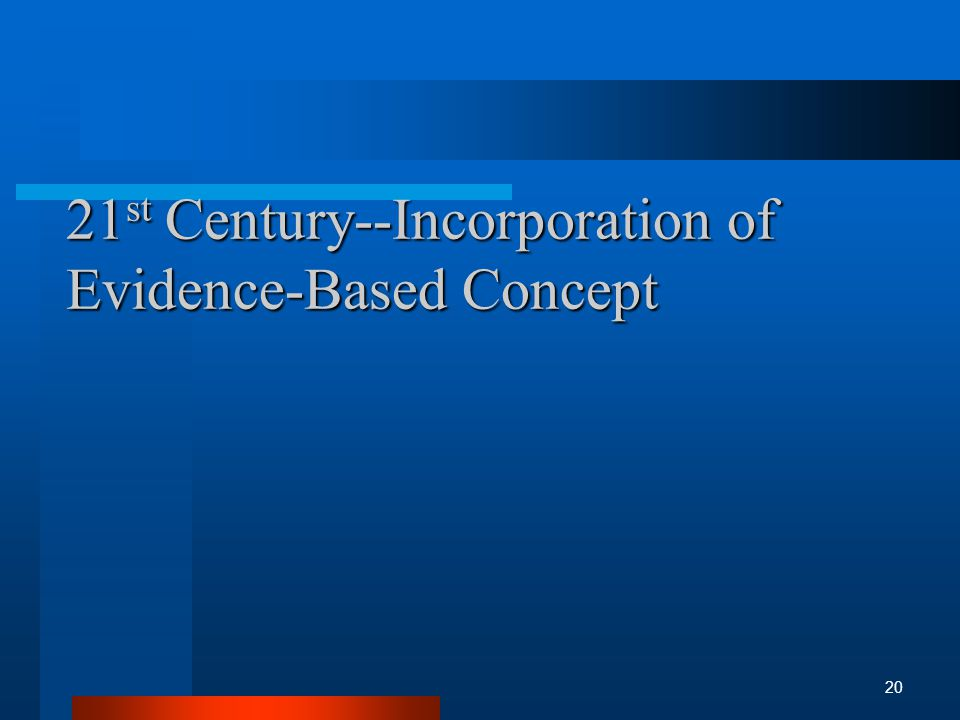 21 st Century--Incorporation of Evidence-Based Concept 20