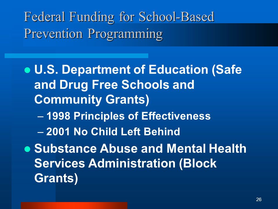 Federal Funding for School-Based Prevention Programming U.S.