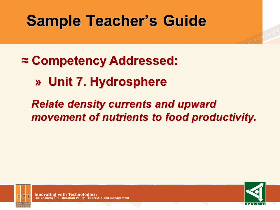 Sample Teachers Guide Competency Addressed: Competency Addressed: » Unit 3.