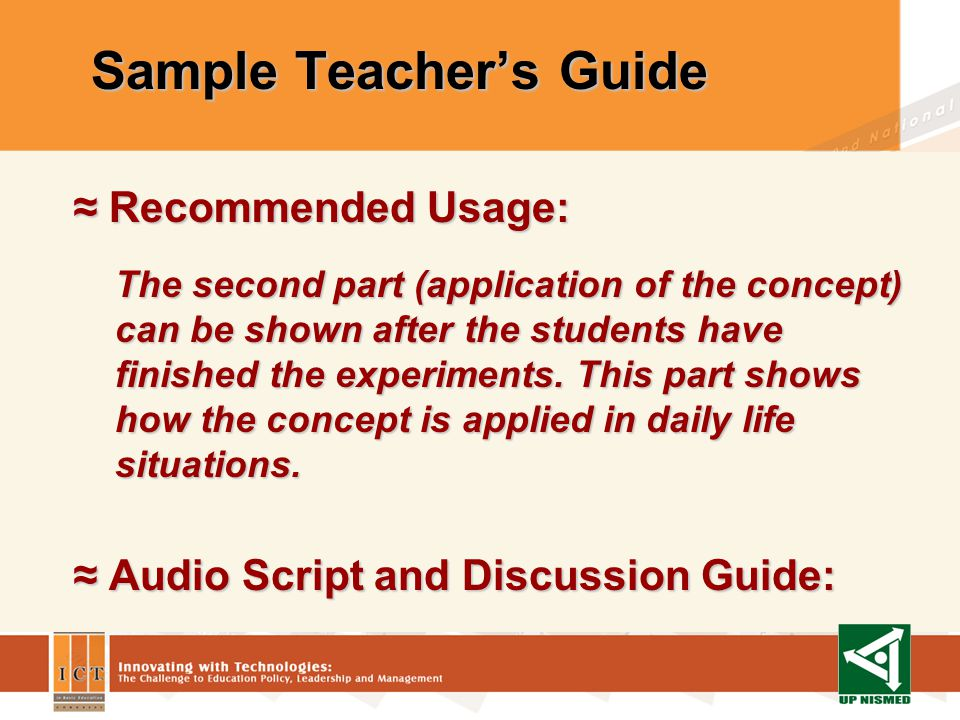 Sample Teachers Guide Recommended Usage: Recommended Usage: The video provides the appropriate laboratory techniques for mass and volume determination.