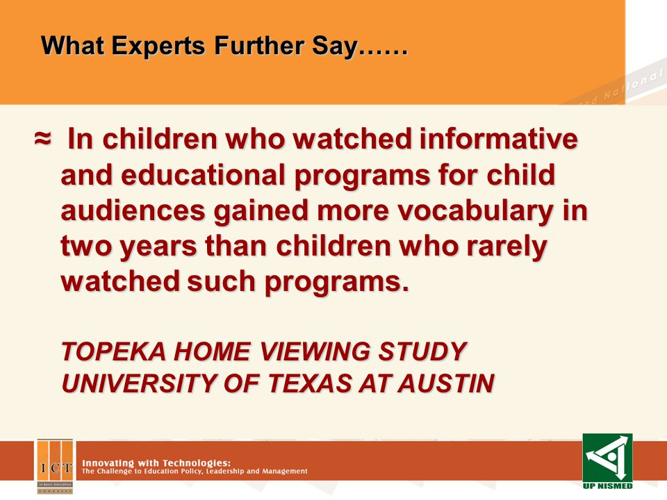 TV / Video Promote Student Achievement TV / Video Promote Student Achievement In terms of media comparisons, there is evidence that children more easily understand information conveyed by television than by print.