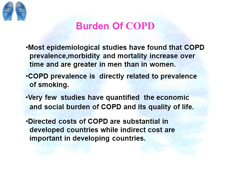 Facts About COPD Cigarette smoking is the primary Cause of COPD. The WHO estimates 1.1 billion smoker worldwide, increasing to 1.6 billion by 2025 in