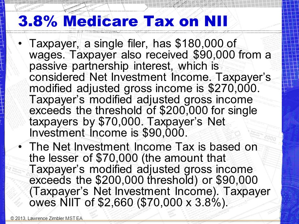 3.8% Medicare Tax on NII Taxpayer, a single filer, has $180,000 of wages.