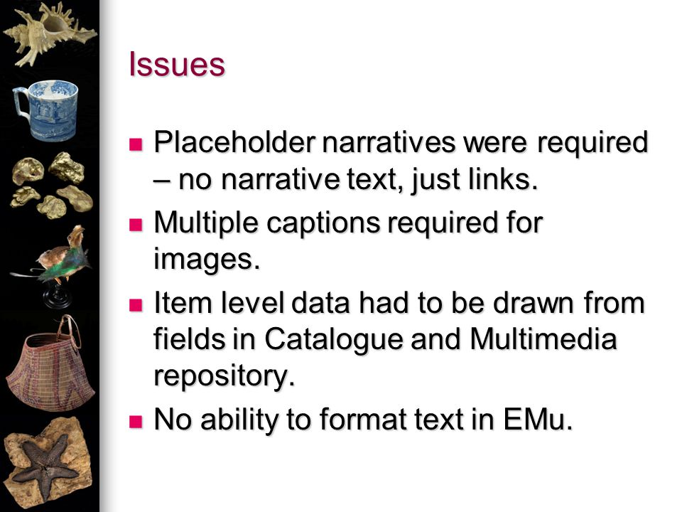 Issues Placeholder narratives were required – no narrative text, just links.