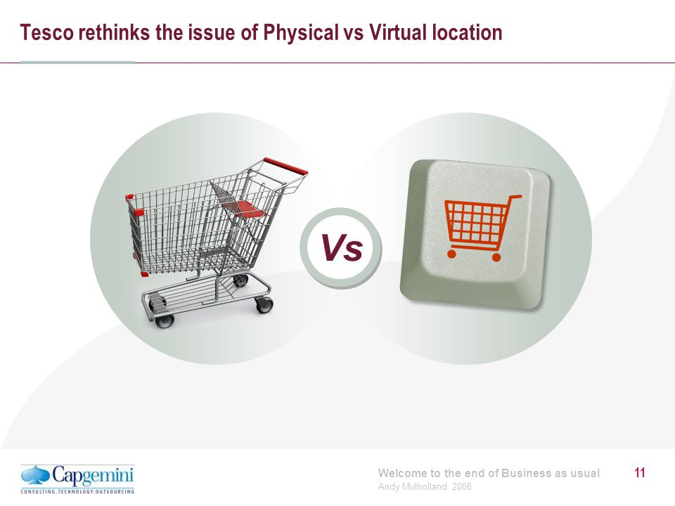 Welcome to the end of Business as usual Andy Mulholland 2006 11 Tesco rethinks the issue of Physical vs Virtual location Vs