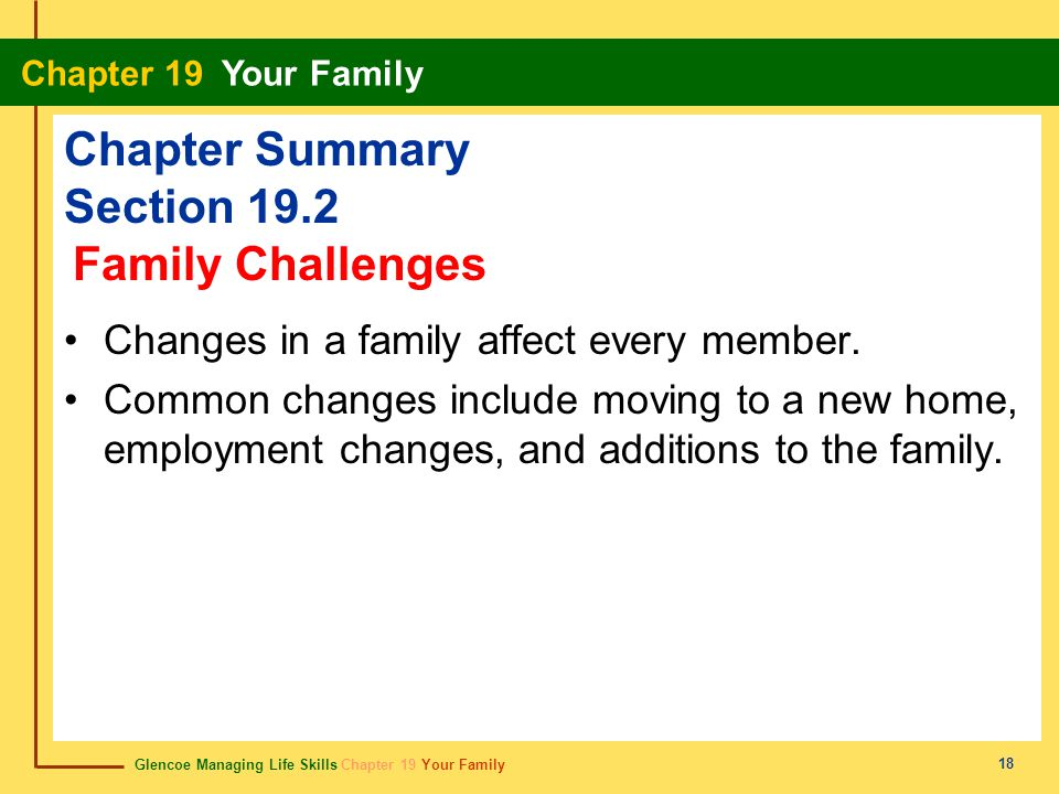Glencoe Managing Life Skills Chapter 19 Your Family Chapter 19 Your Family 18 Chapter Summary Section 19.2 Changes in a family affect every member. Co