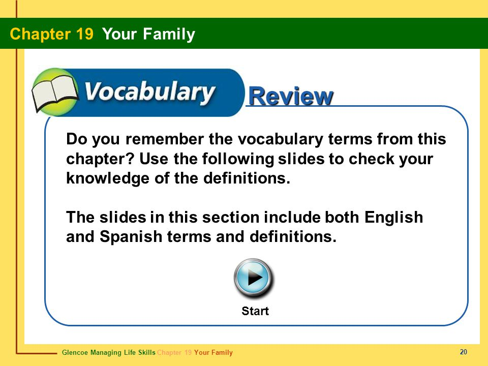 Glencoe Managing Life Skills Chapter 19 Your Family Chapter 19 Your Family 20 Review Start Do you remember the vocabulary terms from this chapter? Use