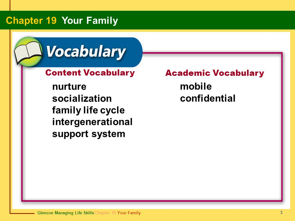 Glencoe Managing Life Skills Chapter 19 Your Family Chapter 19 Your Family 4 Functions of a Family Families provide the physical, emotional, social, and moral support their members need to grow and develop.