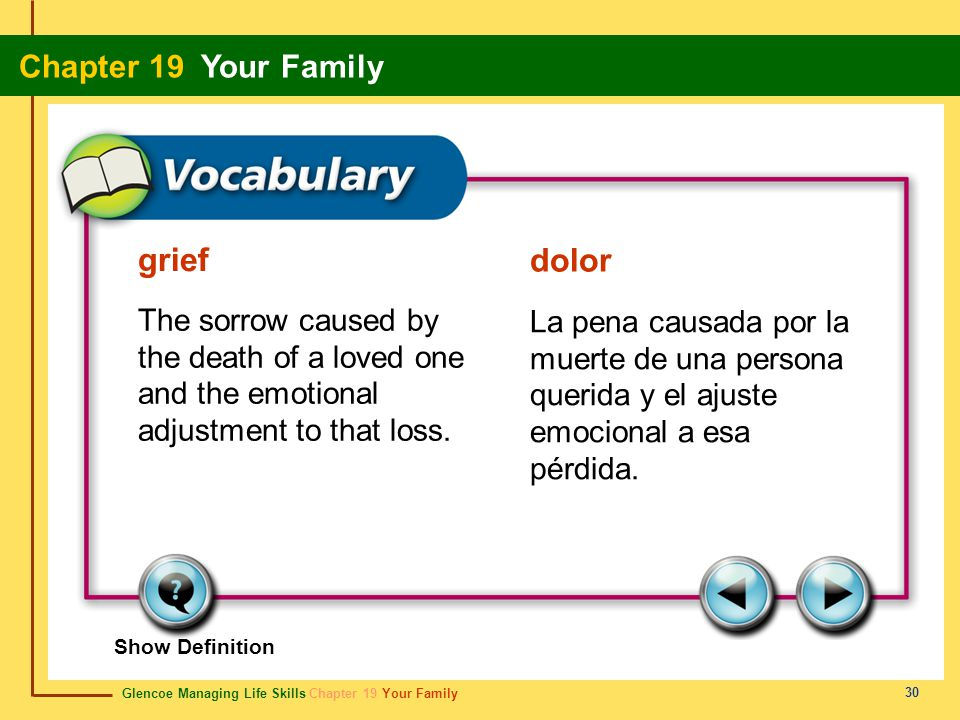 Glencoe Managing Life Skills Chapter 19 Your Family Chapter 19 Your Family 30 grief dolor The sorrow caused by the death of a loved one and the emotio