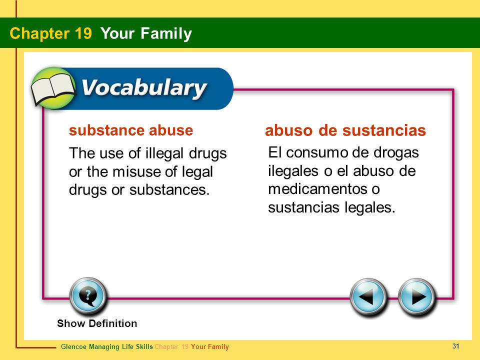 Glencoe Managing Life Skills Chapter 19 Your Family Chapter 19 Your Family 31 substance abuse abuso de sustancias The use of illegal drugs or the misu