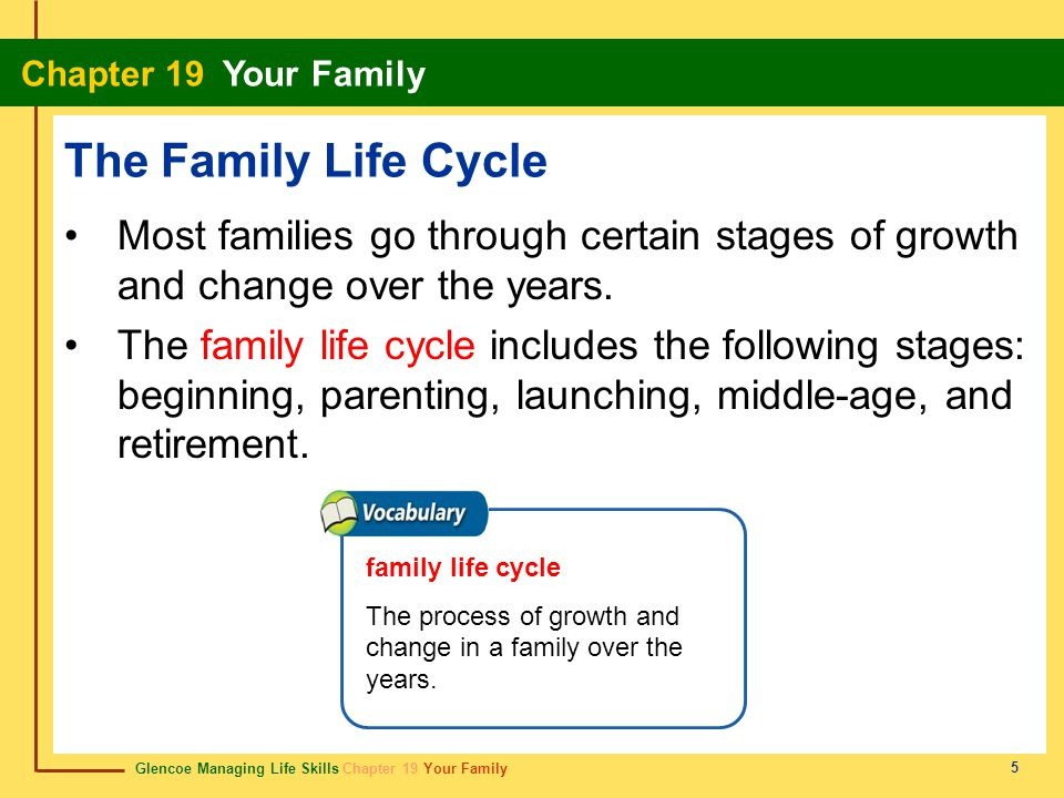 Glencoe Managing Life Skills Chapter 19 Your Family Chapter 19 Your Family 16 Chapter Summary Section 19.1 Although families come in many forms, they all have similar functions.