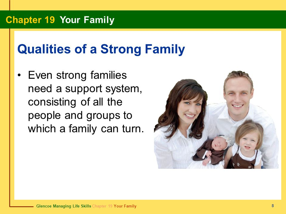 Glencoe Managing Life Skills Chapter 19 Your Family Chapter 19 Your Family 8 Qualities of a Strong Family Even strong families need a support system,