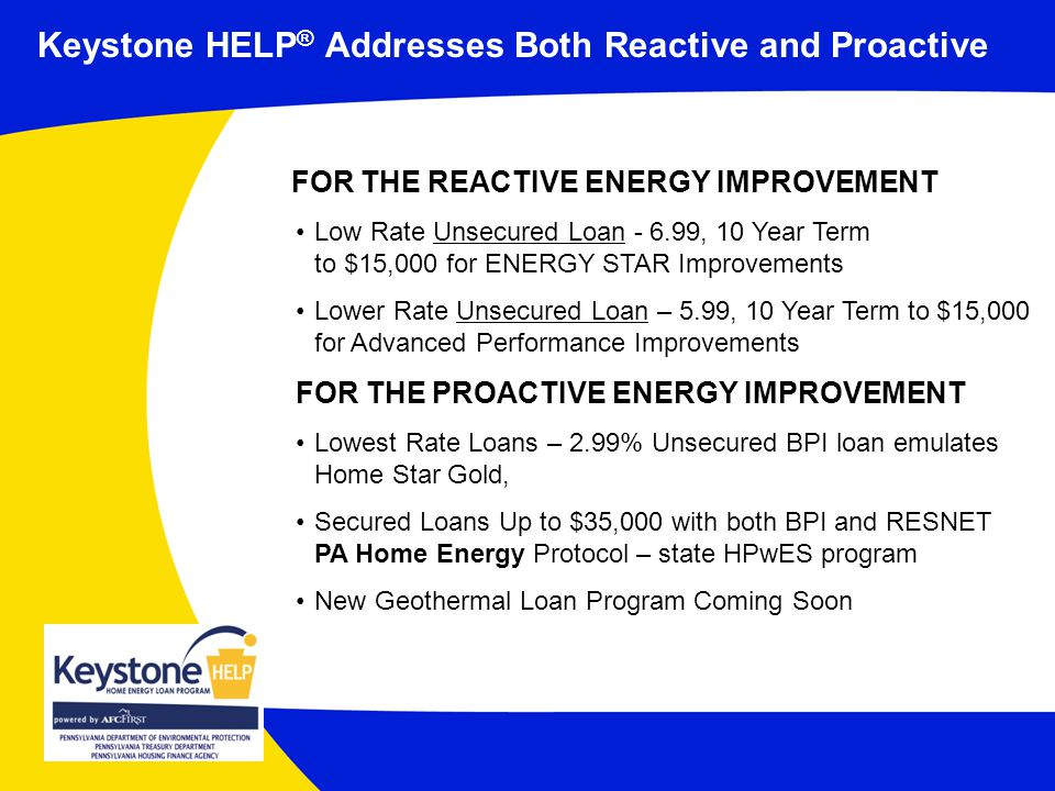 Keystone HELP ® Addresses Both Reactive and Proactive FOR THE REACTIVE ENERGY IMPROVEMENT Low Rate Unsecured Loan , 10 Year Term to $15,000 for ENERGY STAR Improvements Lower Rate Unsecured Loan – 5.99, 10 Year Term to $15,000 for Advanced Performance Improvements FOR THE PROACTIVE ENERGY IMPROVEMENT Lowest Rate Loans – 2.99% Unsecured BPI loan emulates Home Star Gold, Secured Loans Up to $35,000 with both BPI and RESNET PA Home Energy Protocol – state HPwES program New Geothermal Loan Program Coming Soon