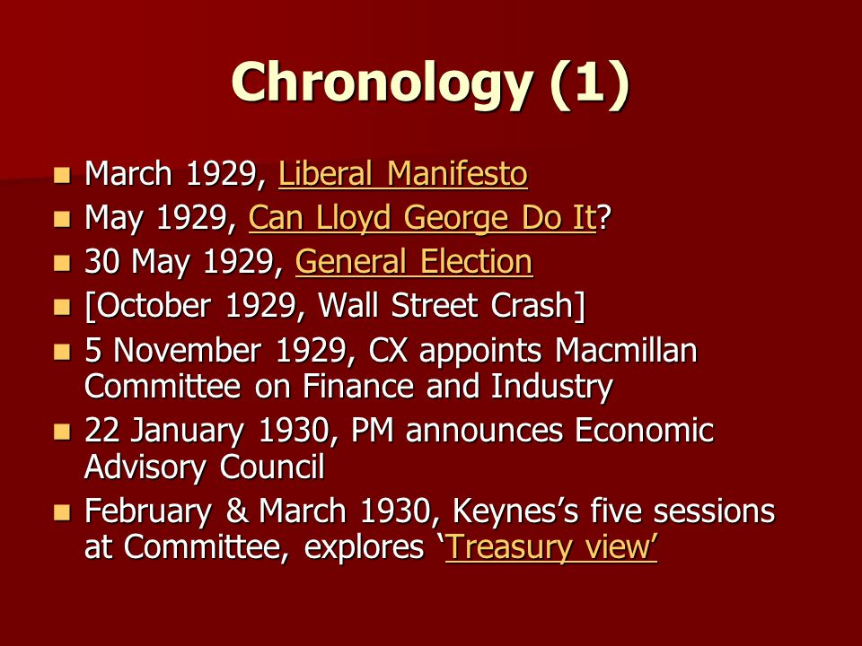 Chronology (1) March 1929, Liberal Manifesto March 1929, Liberal ManifestoLiberal ManifestoLiberal Manifesto May 1929, Can Lloyd George Do It.