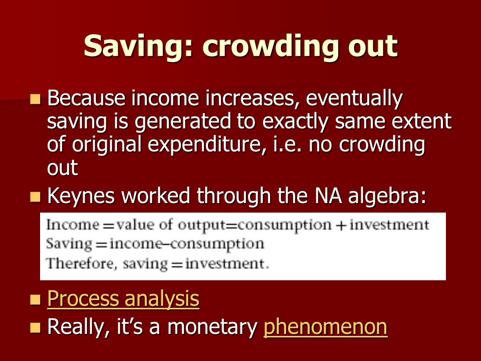 Saving: crowding out Because income increases, eventually saving is generated to exactly same extent of original expenditure, i.e.