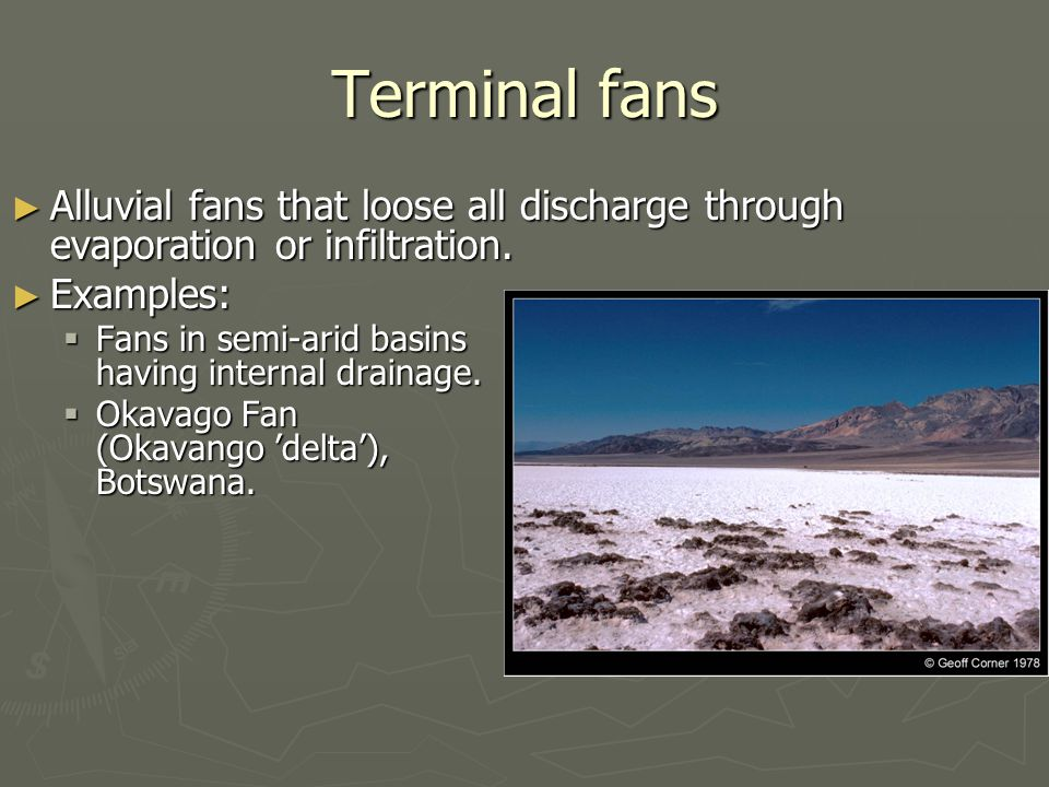 Terminal fans Alluvial fans that loose all discharge through evaporation or infiltration. Alluvial fans that loose all discharge through evaporation o