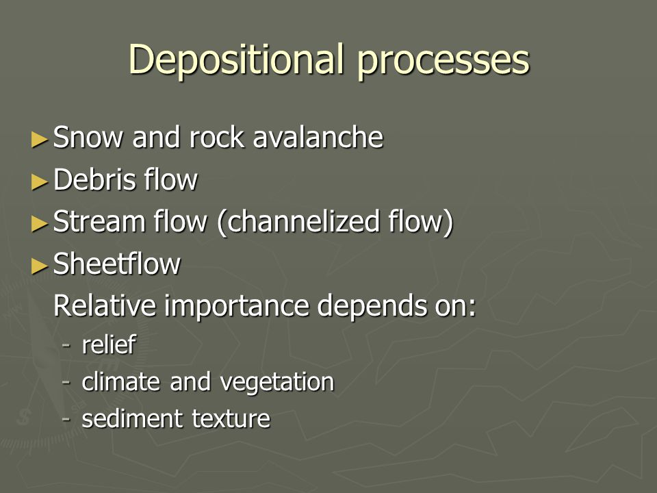 Depositional processes Snow and rock avalanche Snow and rock avalanche Debris flow Debris flow Stream flow (channelized flow) Stream flow (channelized