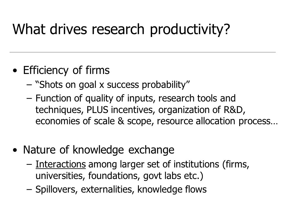 What drives research productivity.