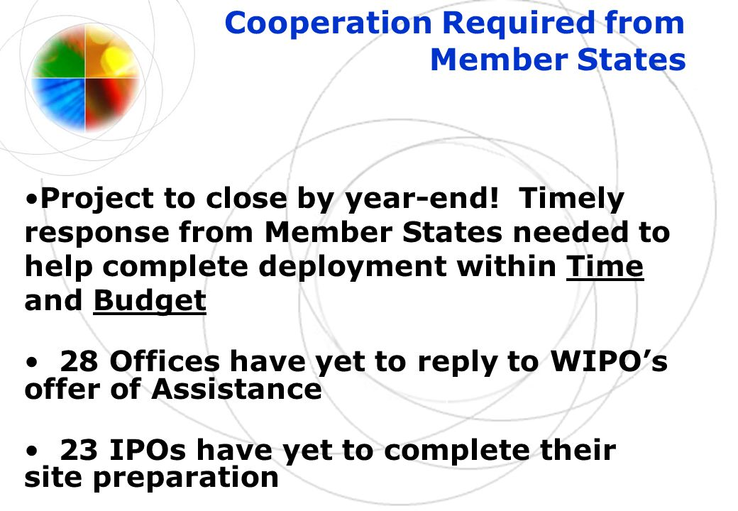 Cooperation Required from Member States Project to close by year-end! Timely response from Member States needed to help complete deployment within Tim