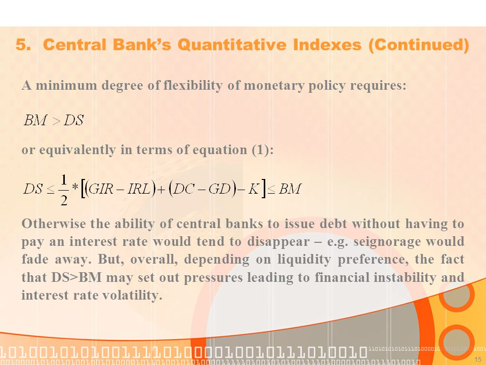 15 A minimum degree of flexibility of monetary policy requires: or equivalently in terms of equation (1): Otherwise the ability of central banks to issue debt without having to pay an interest rate would tend to disappear – e.g.